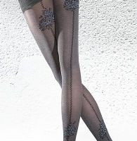 Black 40 Den Tights with Roses Motif and Backseam